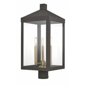 Nyack - 3 Light Outdoor Post Top Lantern in Nyack Style - 10.5 Inches wide by 24 Inches high
