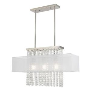 Bella Vista - 3 Light Linear Chandelier in Bella Vista Style - 10 Inches wide by 26 Inches high