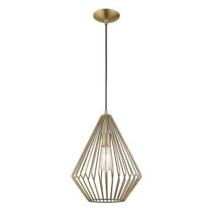 Geometric - 1 Light Mini Pendant in Geometric Style - 11.5 Inches wide by 17.5 Inches high