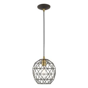 Geometric Shade - One Light Mini Pendant in Geometric Shade Style - 8 Inches wide by 13 Inches high