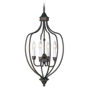 Home Basics - 4 Light Foyer in Home Basics Style - 13 Inches wide by 26 Inches high