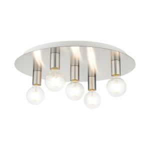 Hillview - 5 Light Flush Mount in Hillview Style - 20 Inches wide by 3.63 Inches high