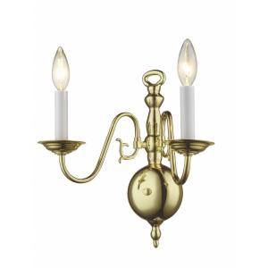 Williamsburgh - 2 Light Wall Sconce in Williamsburgh Style - 12.75 Inches wide by 13 Inches high