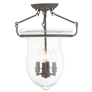Canterbury - 4 Light Semi-Flush Mount in Canterbury Style - 14 Inches wide by 18 Inches high