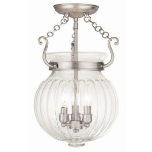Everett - 3 Light Semi-Flush Mount in Everett Style - 12 Inches wide by 18 Inches high