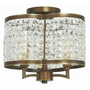 Grammercy - 3 Light Semi-Flush Mount in Grammercy Style - 12 Inches wide by 11 Inches high