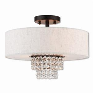 Carlisle - 3 Light Semi-Flush Mount in Carlisle Style - 15 Inches wide by 10.7 Inches high