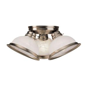 Home Basics - 3 Light Flush Mount in Home Basics Style - 16.5 Inches wide by 7.25 Inches high