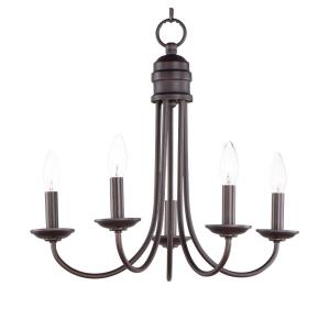 Logan-5 Light Candle Chandelier in Modern style-21 Inches wide by 19.5 inches high