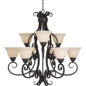 Manor-Nine Light Two Tier Chandelier in Early American style-33 Inches wide by 32 inches high