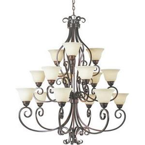 Manor-Fifteen Light Three Tier Chandelier in Early American style-45 Inches wide by 47.5 inches high