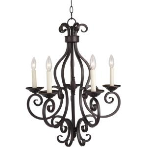 Manor-Five Light Chandelier in Early American style-26 Inches wide by 28 inches high