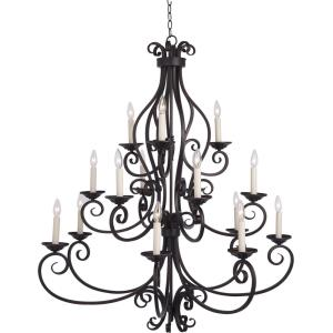 Manor-Fifteen Light 3-Tier Chandelier in Early American style-45 Inches wide by 47.5 inches high
