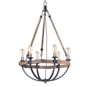 Lodge - 6 Light Chandelier - 29.25 Inches Wide and 42 Inches Tall