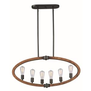 Bodega Bay-6 Light Linear Pendant with Bulb Included in Rustic style-4.5 Inches wide by 16.75 inches high