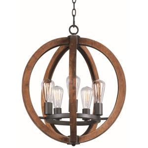 Bodega Bay-5 Light Chandelier with Bulb Included in Rustic style-18 Inches wide by 23 inches high