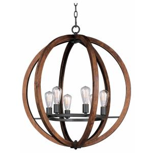 Bodega Bay-6 Light Chandelier with Bulb Included in Rustic style-30 Inches wide by 33 inches high