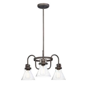 Seafarer-Three Light Chandelier with Bulb-21.5 Inches wide by 10.75 inches high