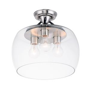 Goblet - 3 Light Semi-Flush Mount in Transitional style - 13.5 Inches wide by 13 inches high