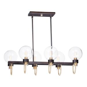 Bauhaus-6 Light Linear Pendant-16 Inches wide by 11 inches high