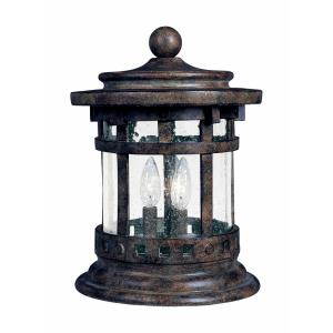 Santa Barbara DC-Three Light Outdoor Deck Mount in Craftsman style-10.5 Inches wide by 12.5 inches high