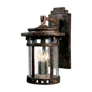 Santa Barbara DC-Three Light Outdoor Wall Mount in Craftsman style-9 Inches wide by 16 inches high