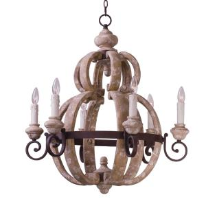 Olde World-Six Light Chandelier-28 Inches wide by 31 inches high