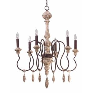 Olde World - Six Light Chandelier with Shade