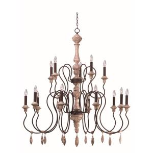 Olde World - Fifteen Light 2-Tier Chandelier