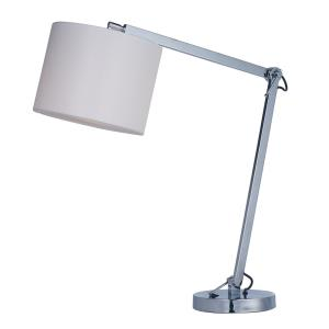 Hotel 1 Light Table Lamp Steel Base and White Wafer Fabric Shade