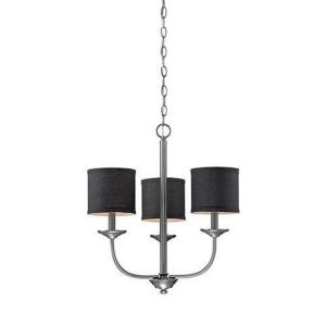 Jackson Chandelier 3 Light Beige Linen-21 Inches Wide by 19 Inches High
