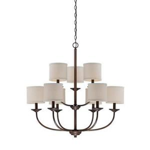 Jackson 2 Tier Chandelier 9 Light Beige Linen-29.5 Inches Wide by 31 Inches High