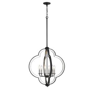 Six Light Pendant-24 Inches Wide by 74 Inches High
