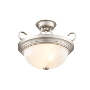 2 Light Semi-Flush Mount-15 Inches Wide by 12 Inches High