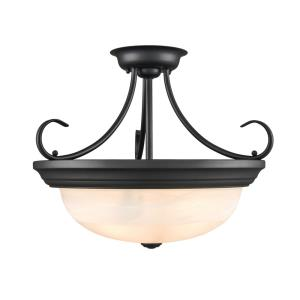 3 Light Semi-Flush Mount-17 Inches Wide by 15 Inches High