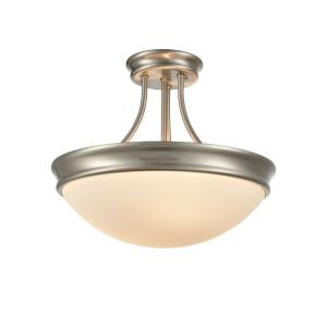 Three Light Semi-Flush Mount-14 Inches Wide by 15 Inches High