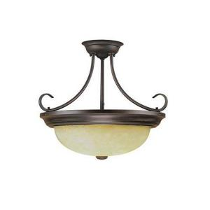 Three Light Semi-Flush Mount-17 Inches Wide by 15 Inches High