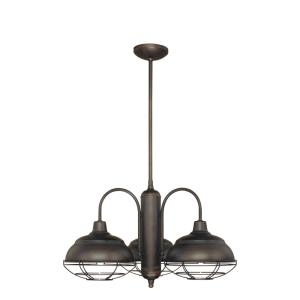 Neo-Industrial Chandelier 3 Light -27 Inches Wide by 54 Inches High