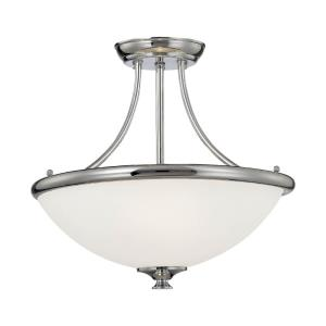 Three Light Semi-Flush Mount-16.75 Inches Wide by 13.5 Inches High