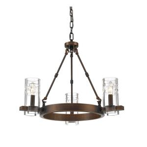 Tulsa Chandelier 3 Light-24 Inches Wide by 19 Inches High