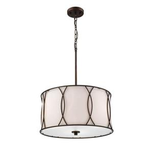 Pendant 3 Light White Linen-18 Inches Wide by 41 Inches High