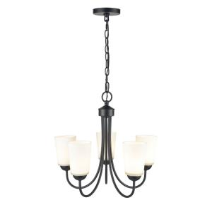 Ivey Lake-5 Light Chandelier with Glass-20 Inches Wide by 17 Inches High