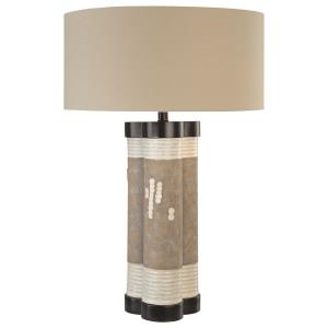 2 Light Table Lamp Fabric Base with Cream Fabric Shade - 29.5 inches tall by 19 inches wide