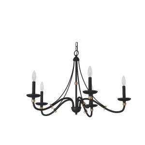 Westchester County - Chandelier 5 Light Sand Coal/Skyline Gold Steel - 20 inches tall by 28 inches wide
