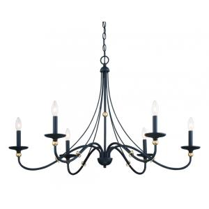 Westchester County - Chandelier 6 Light Sand Coal/Skyline Gold Steel - 24 inches tall by 40 inches wide