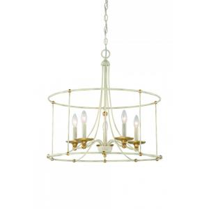 Westchester County - Chandelier 5 Light Farm House White/Gilded Gold Steel - 24 inches tall by 25 inches wide