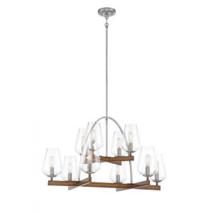 Birnamwood - Chandelier 10 Light Koa Wood/Pewter Steel/Glass - 23.88 inches tall by 32.38 inches wide