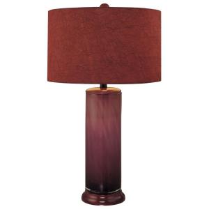 1 Light Table Lamp Fabric Base with Red Fabric Shade - 16 inches wide