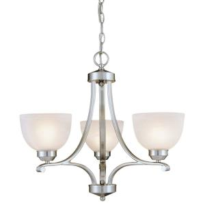 Paradox - Mini Chandelier 3 Light Brushed Nickel in Transitional Style - 20 inches tall by 23 inches wide
