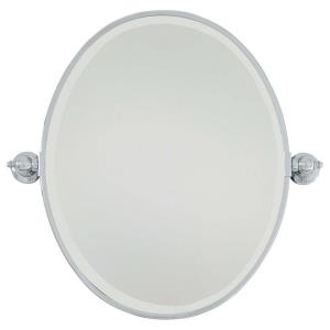 Oval Beveled Mirror in Traditional Style - 24.5 inches tall by 19.5 inches wide